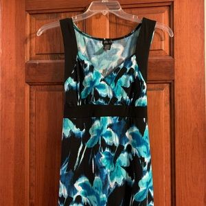 Black and blue/teal floral maxi dress